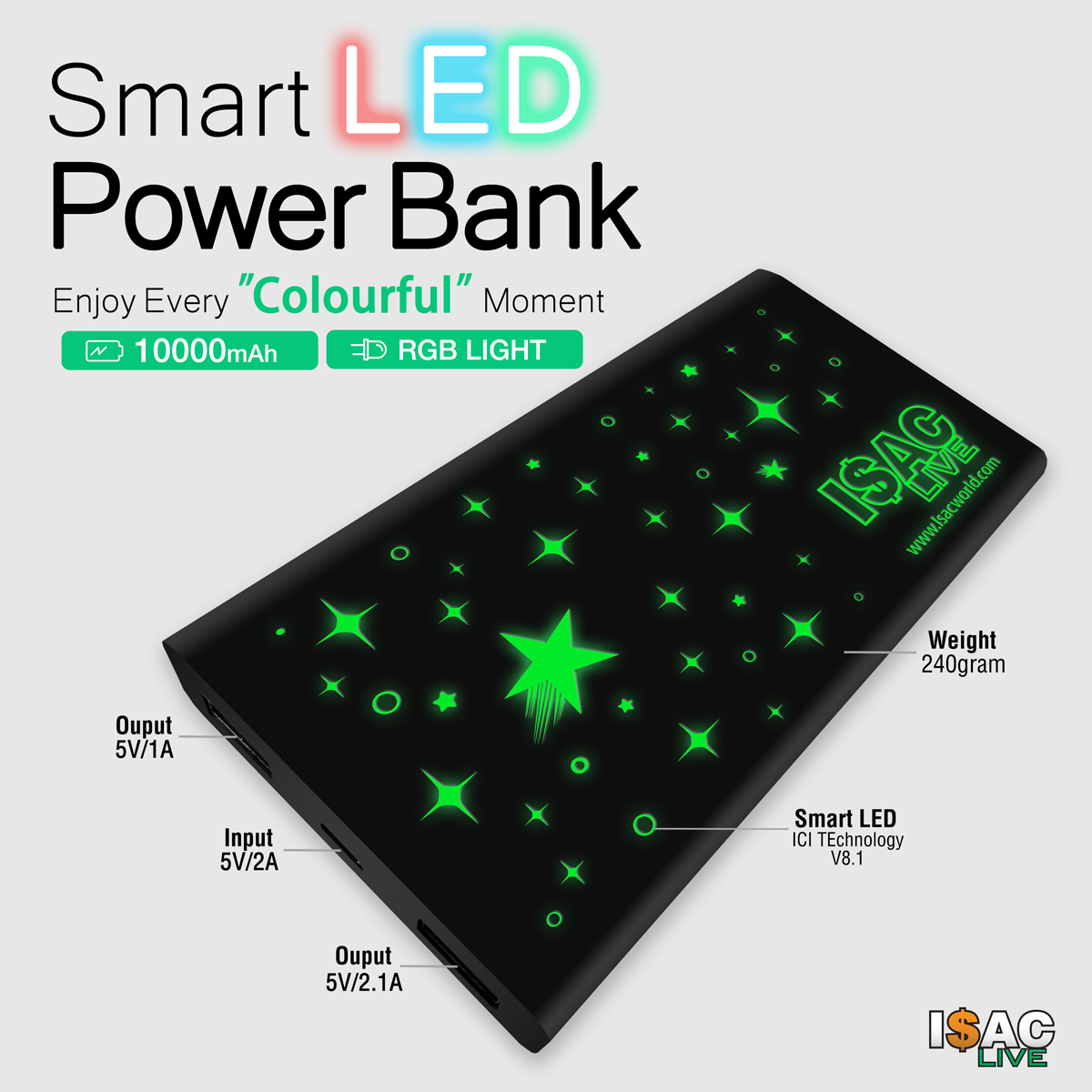 Isaclive Smart LED Powerbank